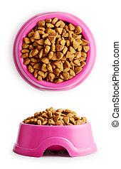 Dry cat food in pink bowl