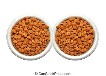 Dry cat food in plate isolated on white background