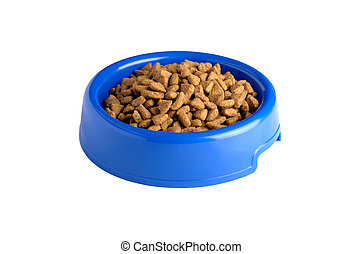dry cat food in blue bowl isolated on white