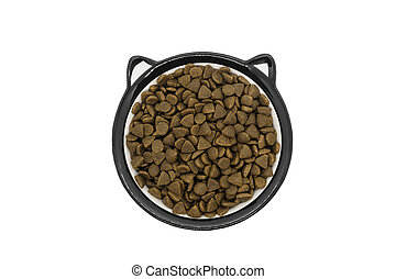 Dry cat or dog food in round bowl