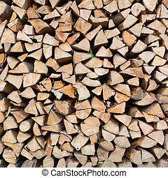 Dry chopped firewood logs.