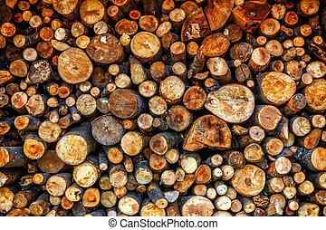 Dry chopped firewood logs