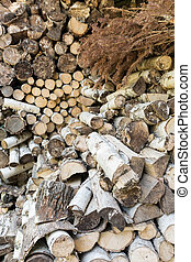 Dry chopped wood - Dry cut and chopped fireplace wood pieces