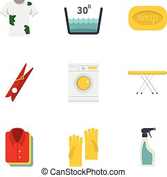 Dry cleaning icons set, flat style