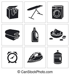 Dry Cleaning Laundry Vector Icons Set - Cleaning Vector...
