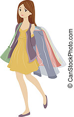 Dry Cleaning Teenager - Illustration of a Teenager Carrying...