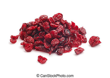 dry cowberries on white background