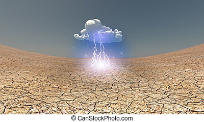 Dry Cracked earth with single cloud