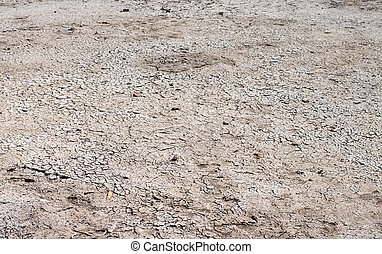 Dry cracked ground after a lake draining