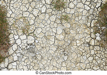 Dry cracks in dried out soil