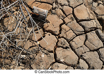 Dry cracks on ground or earth during drought