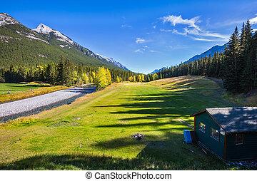 Dry creek in valley Banff park