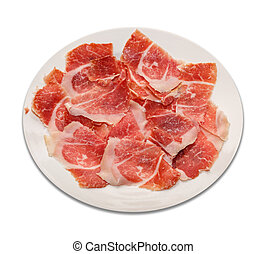 dry-cured ham slices on plate and white background