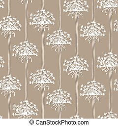 Dry dandelion flowers - abstract seamless pattern.