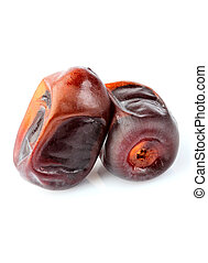 Dry dates fruit isolated closeup.