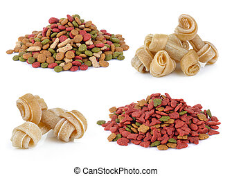 dry dog food and Artificial a bone for a dog on white background