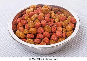 Dry dog food in a metal bowl