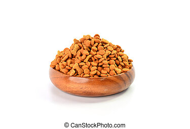 Dry dog food in bowl on white background