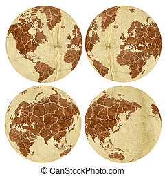 Dry Eath - Collection of Earth globes isolated on white....