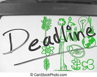 Dry Erase Board, Deadline, Alternative energy Concept