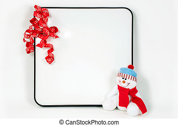 dry erase board with Christmas ribbon - red Christmas ribbon...