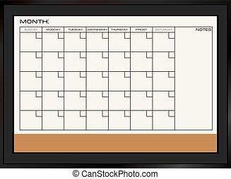 Dry erase calendar board - Board for dry erasing combined...
