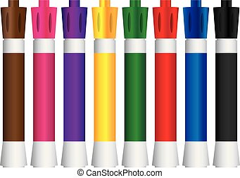 Dry Erase Markers - Eight colored markers dry erase. Vector...