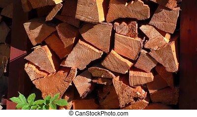 Dry firewood neatly folded