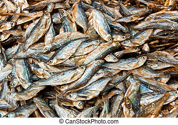 Dry fish - Dried fish in local market at Konpapeng Waterfall