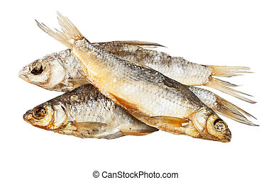 Dry fish isolated on white background. Clipping Path