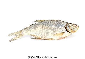 Dry fish isolated on white background. horizontal photo.