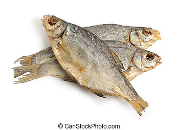 Dry fish isolated on white background