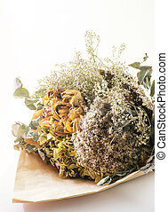 dry flower bouquet on white background