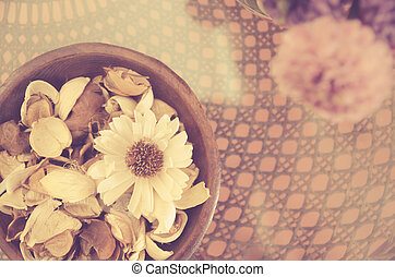 dry flower on wood table