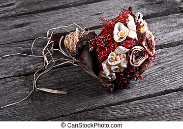 dry flower wedding bouquet on wood