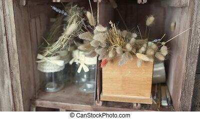 Dry flowers in florist shop