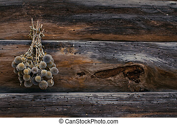 Dry flowers on the wooden wall