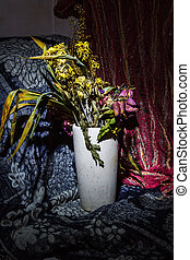 Dry flowers still life