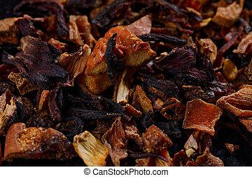 Dry fruit multifit tea leaf texture background. Macro.