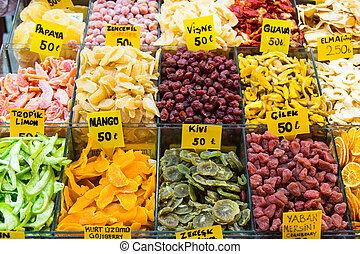 Dry fruits in Spice Bazaar, Istanbul, Turkey