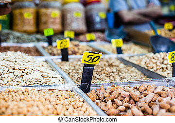 Dry fruits on the market in Jerusalem, Israel
