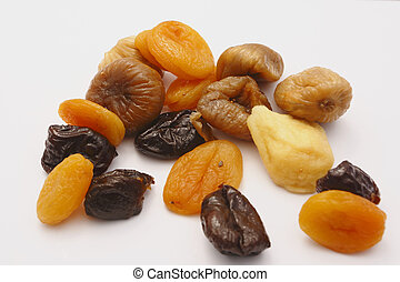 dry fruits on the white background