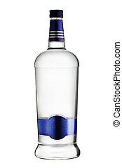 bottle of vodka on white background - dry glass bottle of...