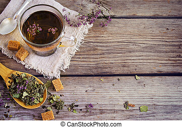 Dry herb tea, a cup of brown sugar. with space for text
