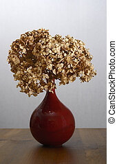 dry hydrangea in a red vase on a table