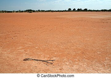 Dry Lake - A dry lake bed in central Australia due to the...