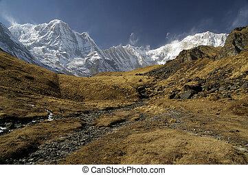 Anapurna base camp - Dry land before Anapurna base camp in ...