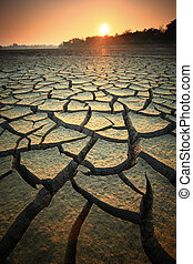 Dry land - Dry soil texture on the ground.