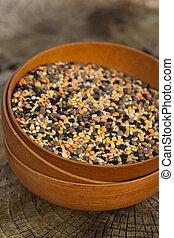 Dry Lentils. Lentils mix. Selective focus.