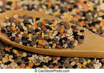 Lentils - Dry Lentils. Selective focus.